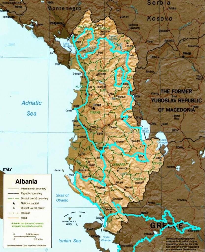 Carte albanie pour blog