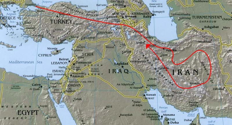 Image du tracé IRAN 2016